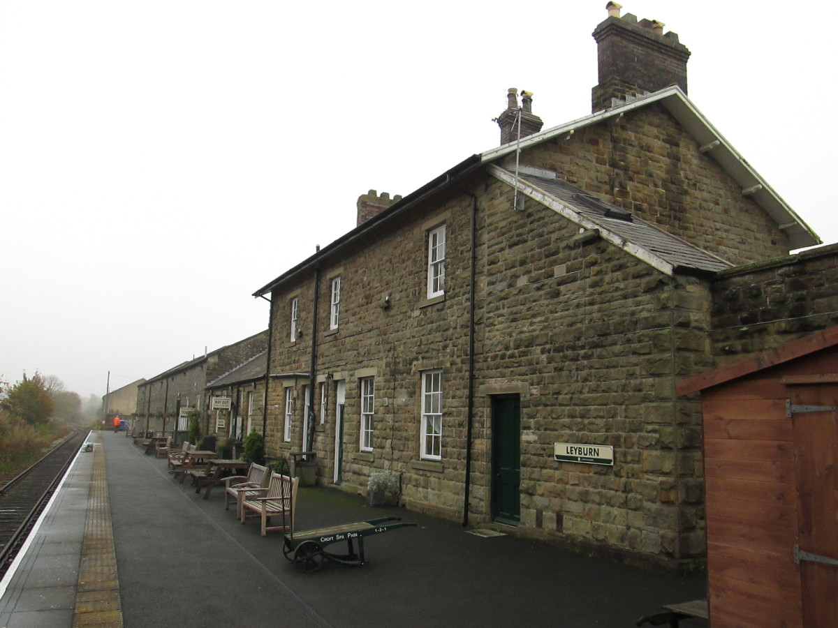 Buildings facing the platform at Leyburn, one stop short of the Wensleydale Railway's terminus at Redmire