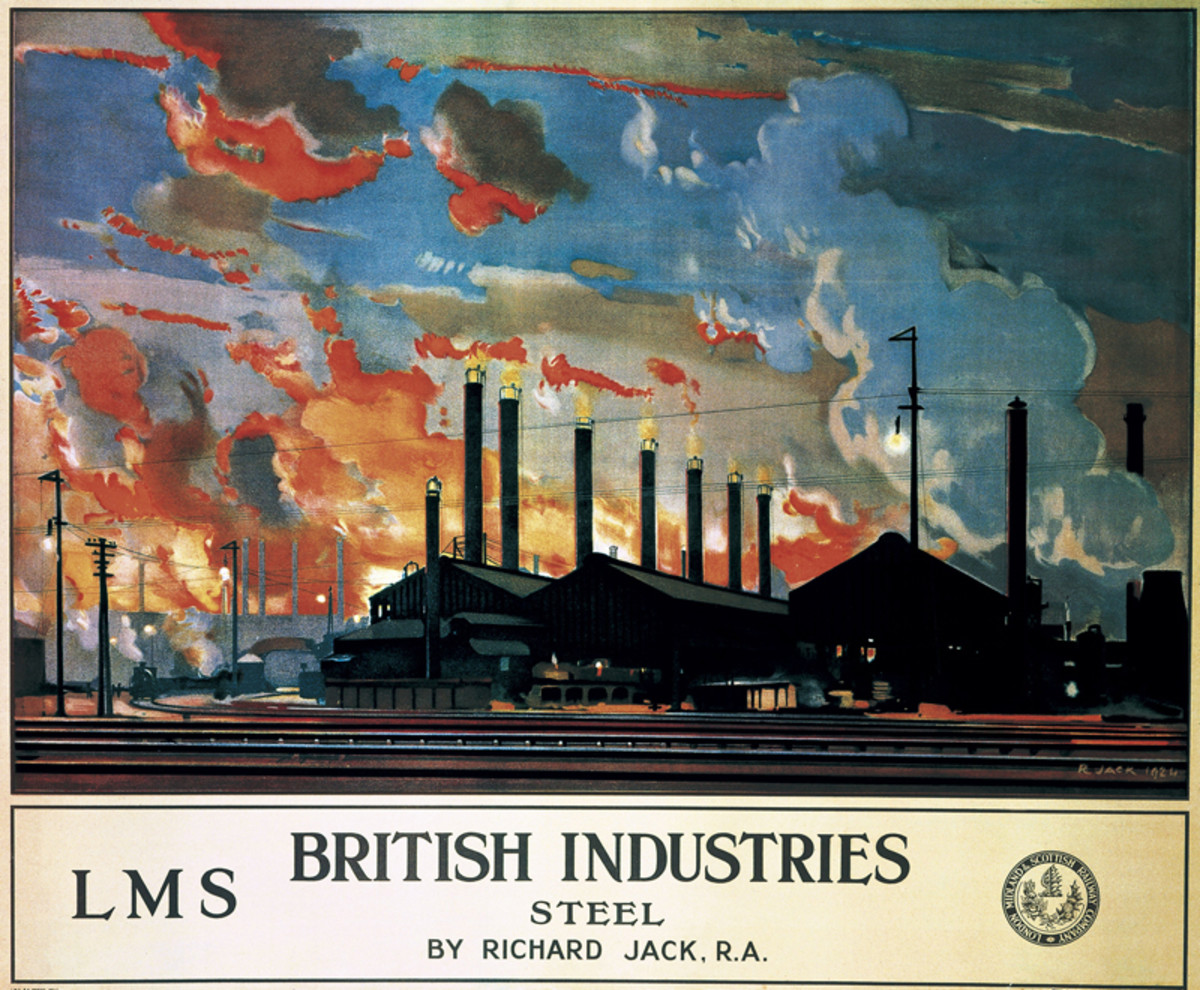 An LMS poster shows a nice spread of industrial buildings behind a network of sidings