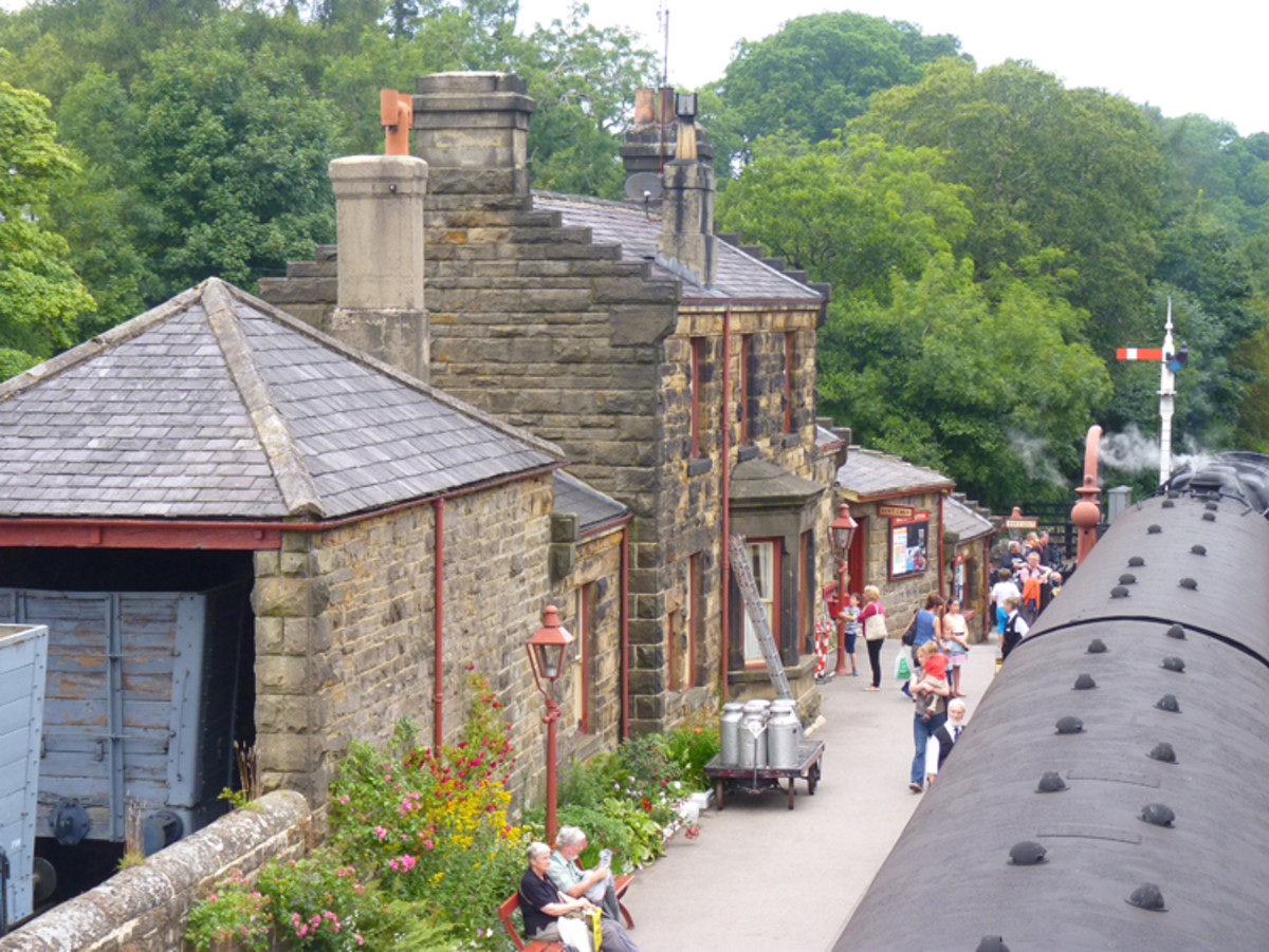 Goathland is the next station towards Pickering on the NYMR. Buildings display stepped gabling that dates back around a century and a half, goods shed, coal depot with roofed lime cell (lime was used by farmers to 'condition' the soil)