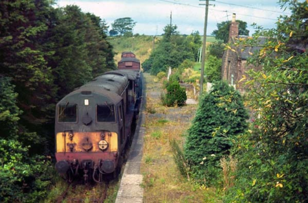 This is Canonbie Station on the former Border Union Railway (not far from Langholm, D&G, on the border) in SW Scotland. The line and the station look inundated by vegetation (Bruce MCartney, 1967)