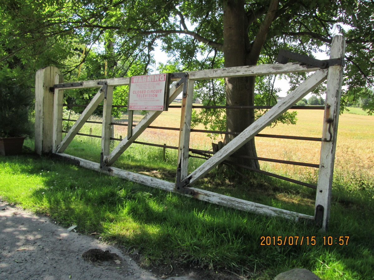 This is detail that finishes off a model - one of a pair of yard gates at the former Masham Station near the market town it served. Steel horizontal bars prevented children from climbing through the gate. Set off against a verdant field boundary
