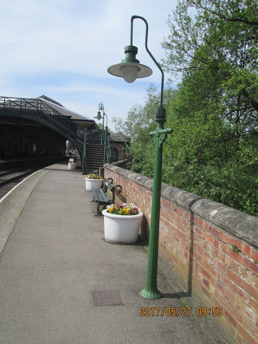 Three similar lamp standards on Pickering Station's 'Down' platform (Grosmont and Whitby direction). The Hornby 'Skaledale' range includes similar fluted-post types, originally gas lit