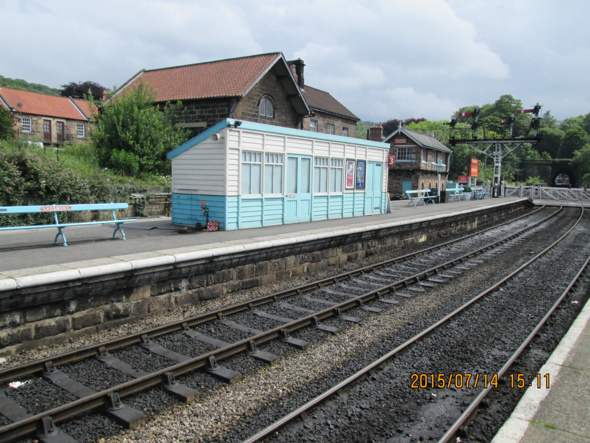 That enclosed North Eastern platform shelter again -gives the station an authentic feel, with the North Eastern Railway style signal cabin beyond at the crossing - originally a wooden cabin on a brick plinth in the junction with the Battersby line