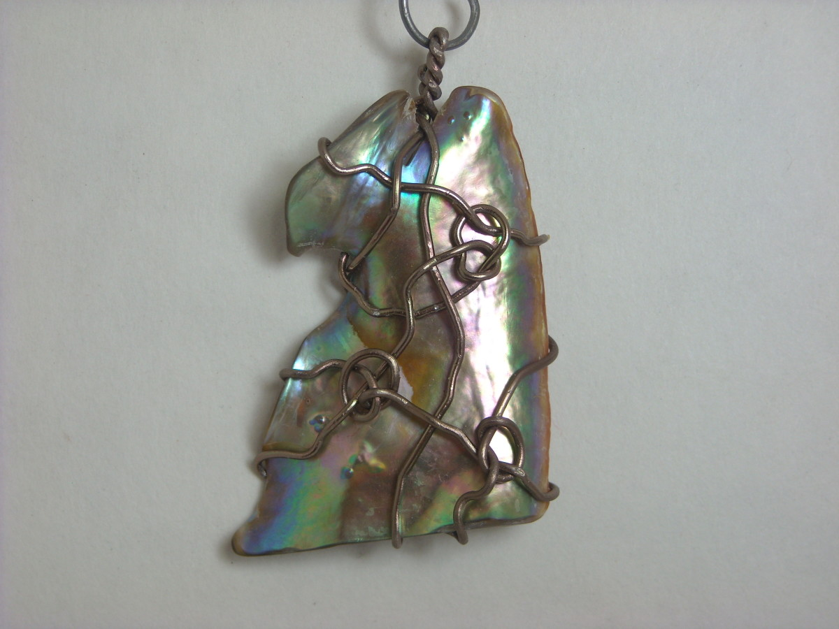 Wire Wrapped Abalone Shell Pendant # 4 Front
