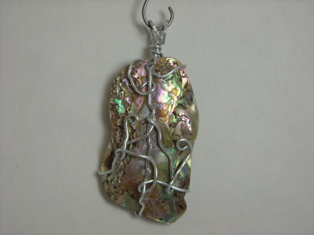 Wire Wrapped Abalone Shell Pendant # 5 Back