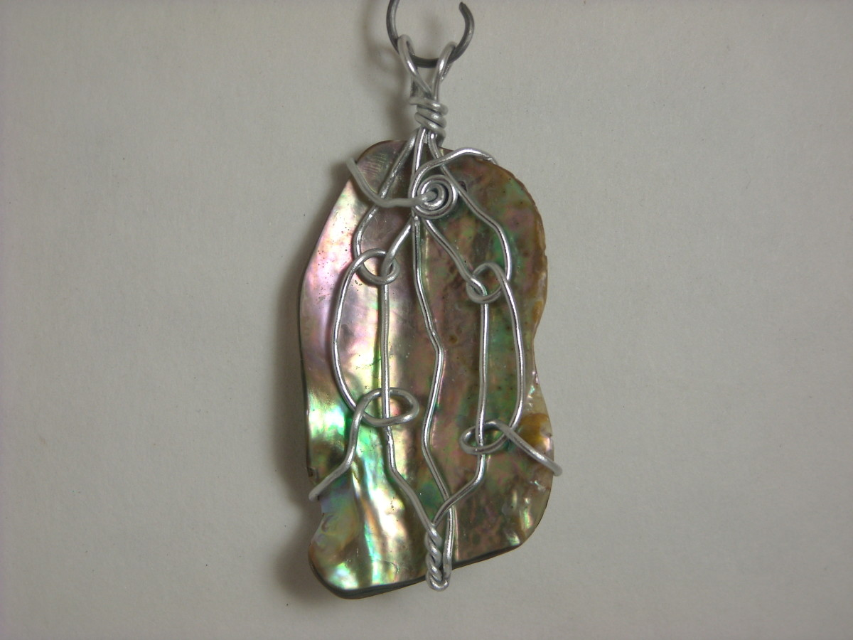 Wire Wrapped Abalone Shell Pendant # 5 Front