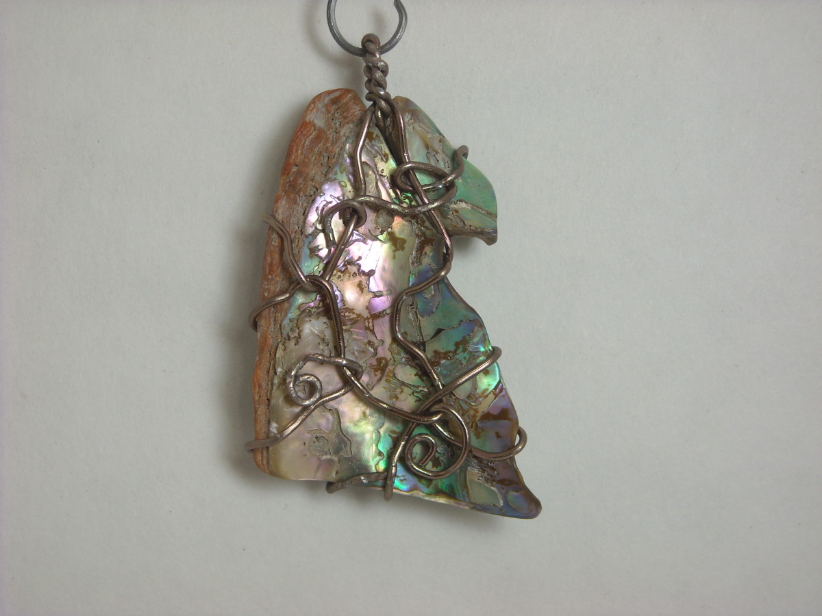 Wire Wrapped Abalone Shell Pendant # 4 Back
