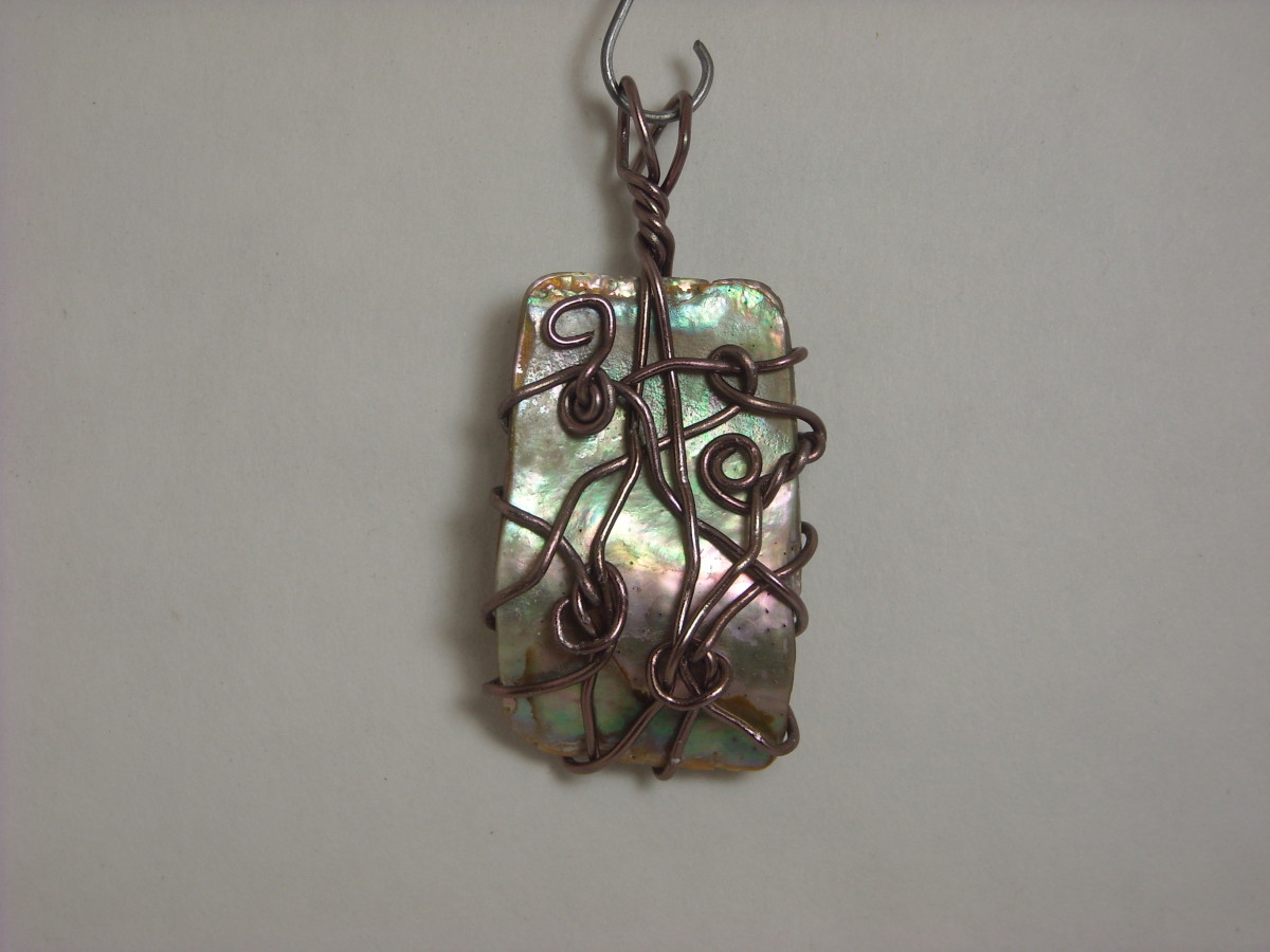 Wire Wrapped Abalone Shell Pendant # 2