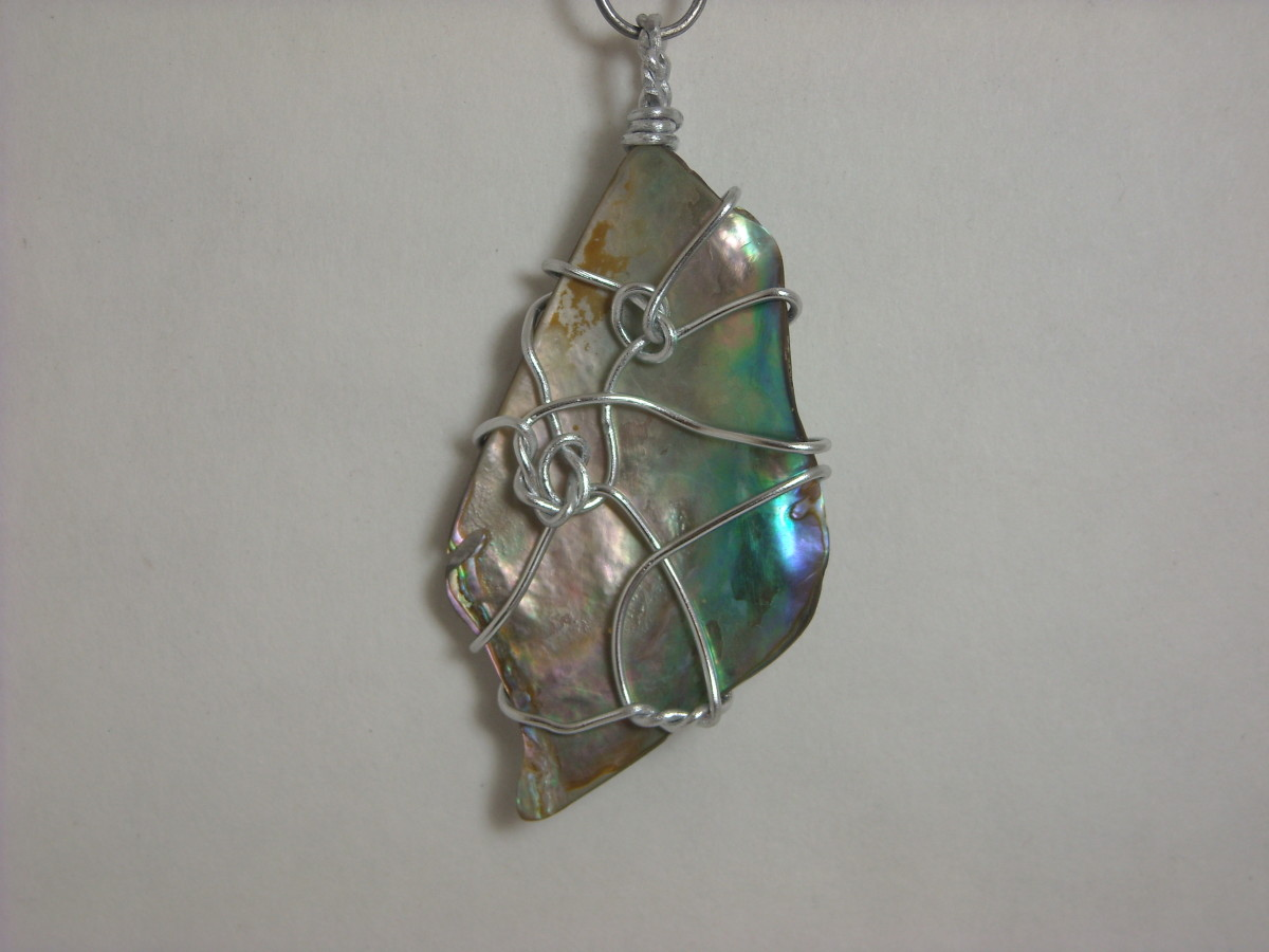 Wire Wrapped Abalone Shell Pendant # 3