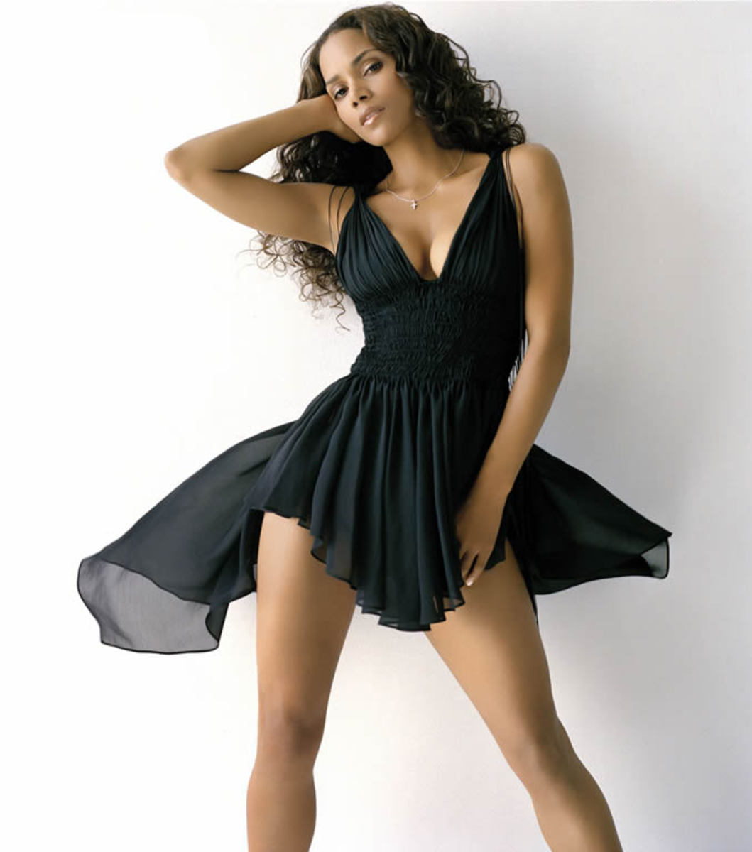 Halle Berry in a short black dress