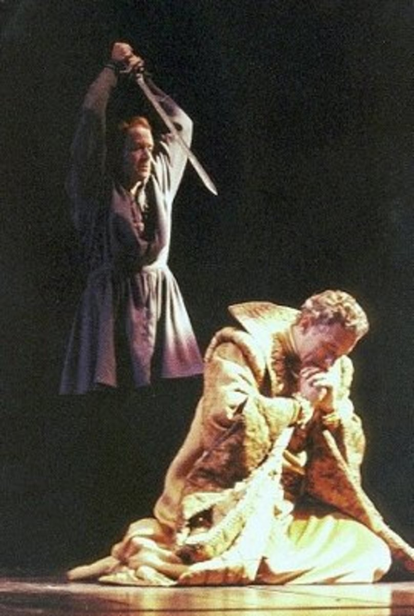 Hamlet is going to kill Claudius, but he suspends his decision on the plea that killing Claudius while he is praying will send him direct to heaven instead of hell.