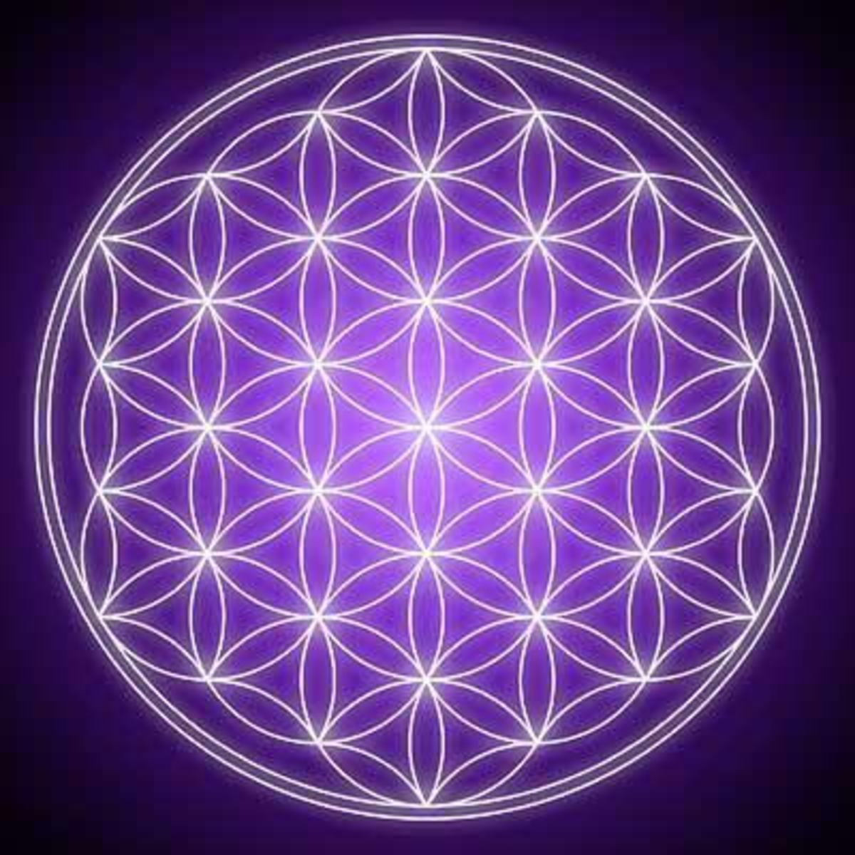 The Flower of Life is an ancient symbol representing the cycle of life and contains within it the five Platonic Solids.