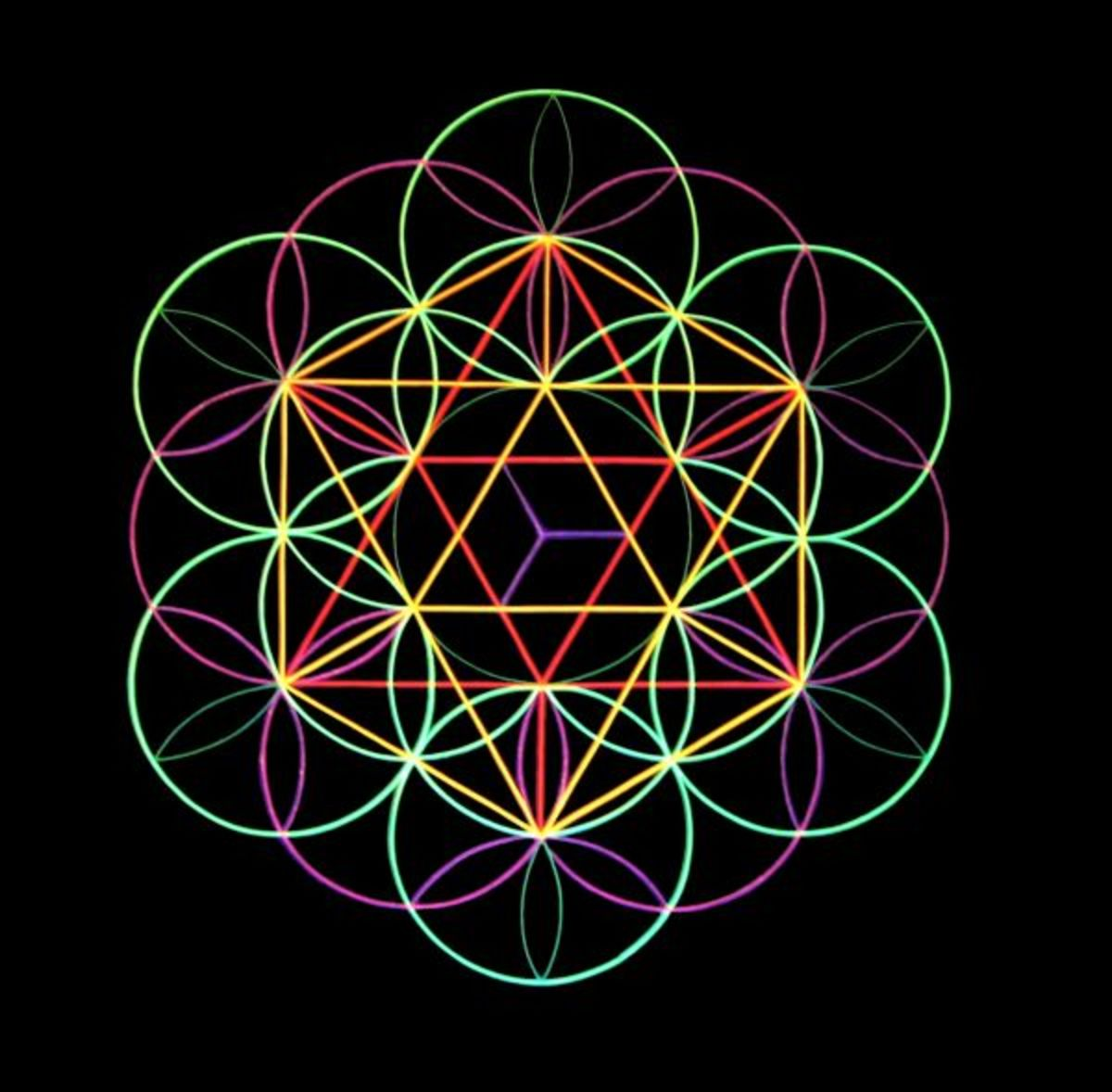 Notice that all of the platonic solids, can be made from the Flower of Life by connecting intersecting lines