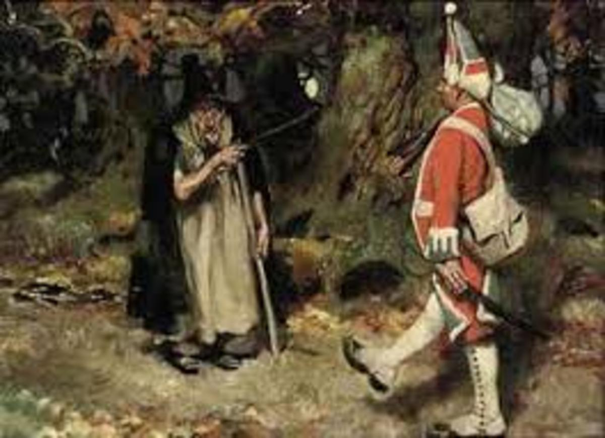 A soldier out for a leisurely stroll in the woods meets up with an old woman with dual sticks...