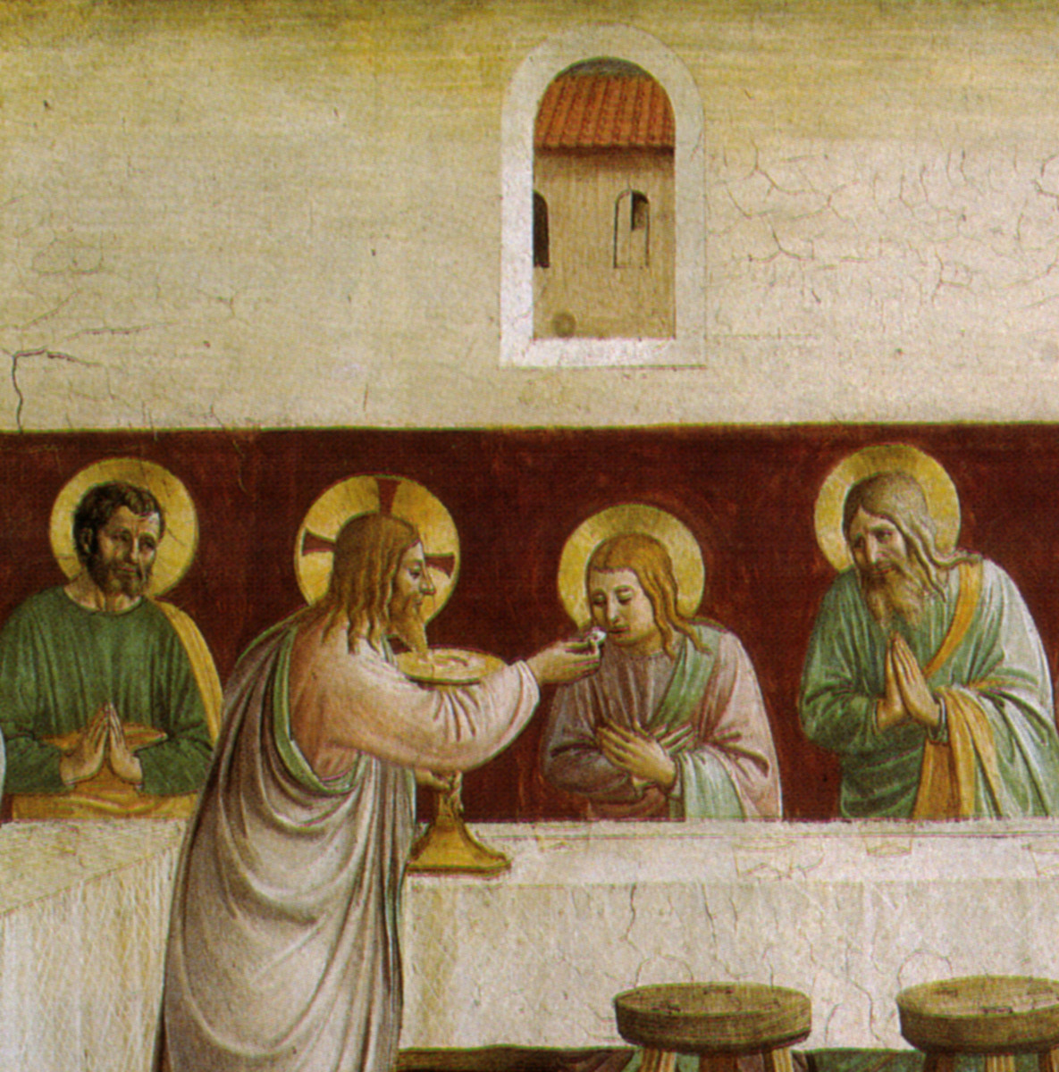 Beato Angelico, Communion of the Apostles (1440-1442) Detail, Florence San Marco Monastery