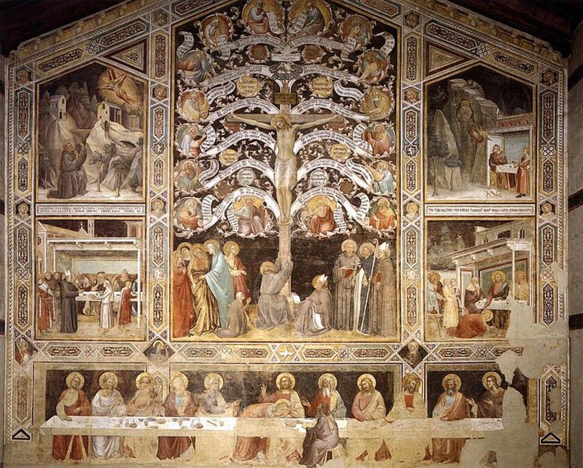 Taddeo Gaddi, Last Supper  and Crucifixion (1333), Florence Santa Croce