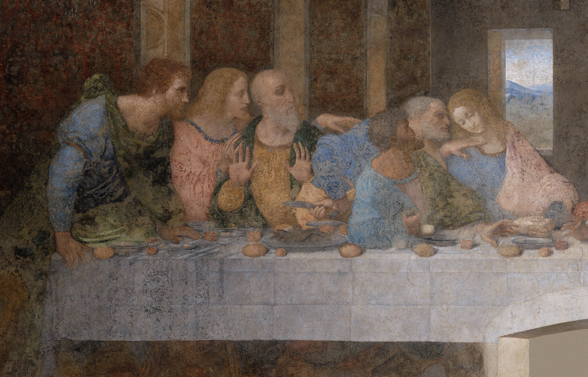 Leonardo, Last Supper (1494-1498) Detail of the Right Group of the Apostles