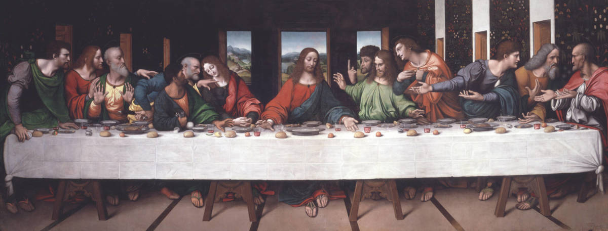 Giovan Pietro Rizzoli called Giampietrino, Last Supper  (copy after Leonardo, a. 1520), Oxford Magdalen College (property of the London Royal Accademy)