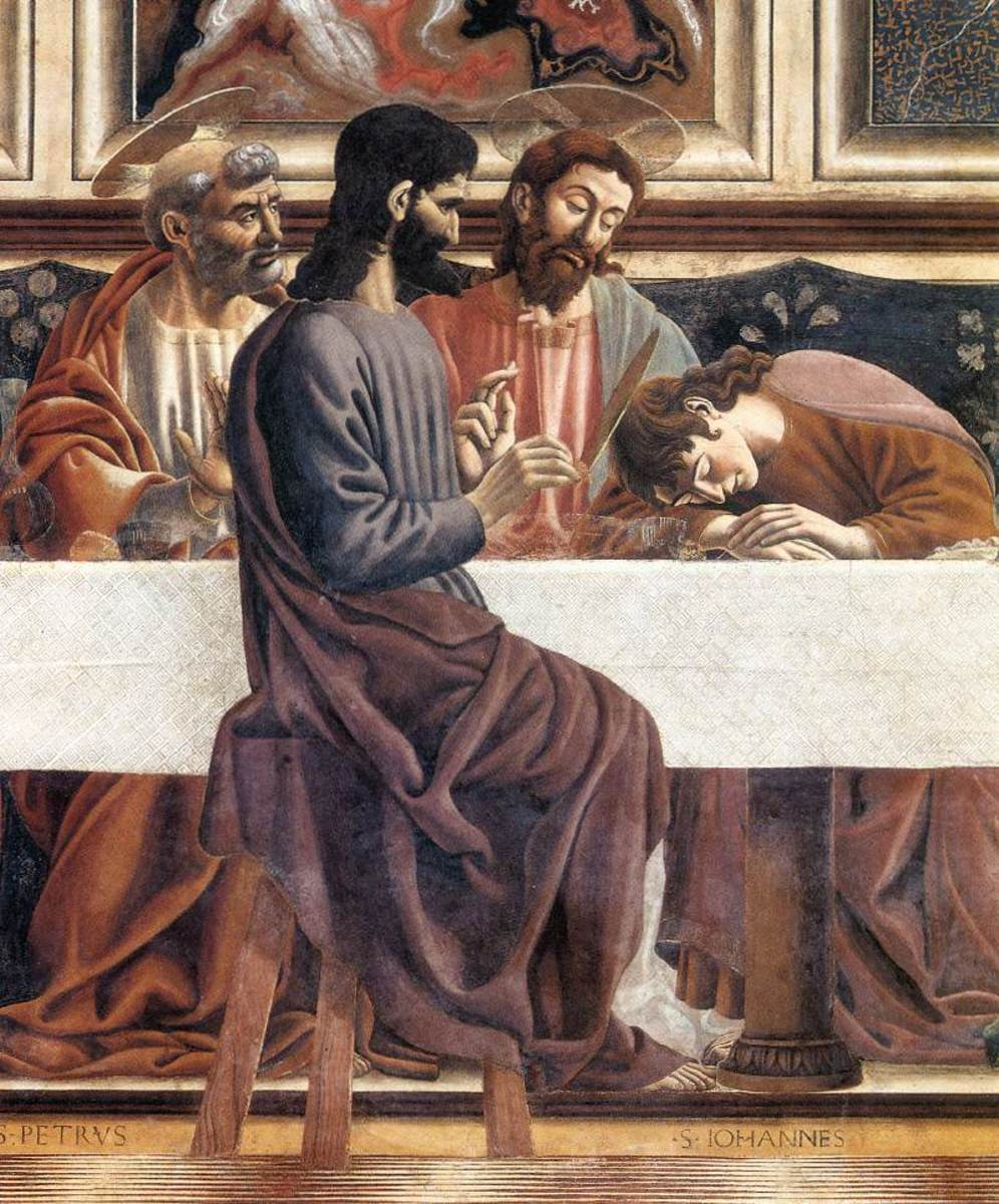 Andrea del Castagno, Last Supper (1447) detail with Judas, Christ and St John