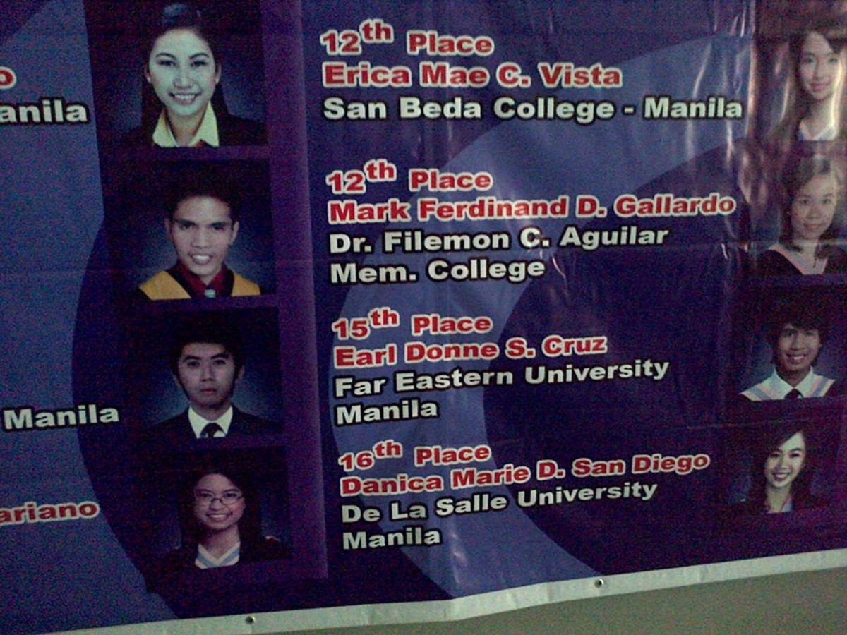 Mark Ferdinand Gallardo's Banner as one of the CPA Board Exam topnotchers for 2014