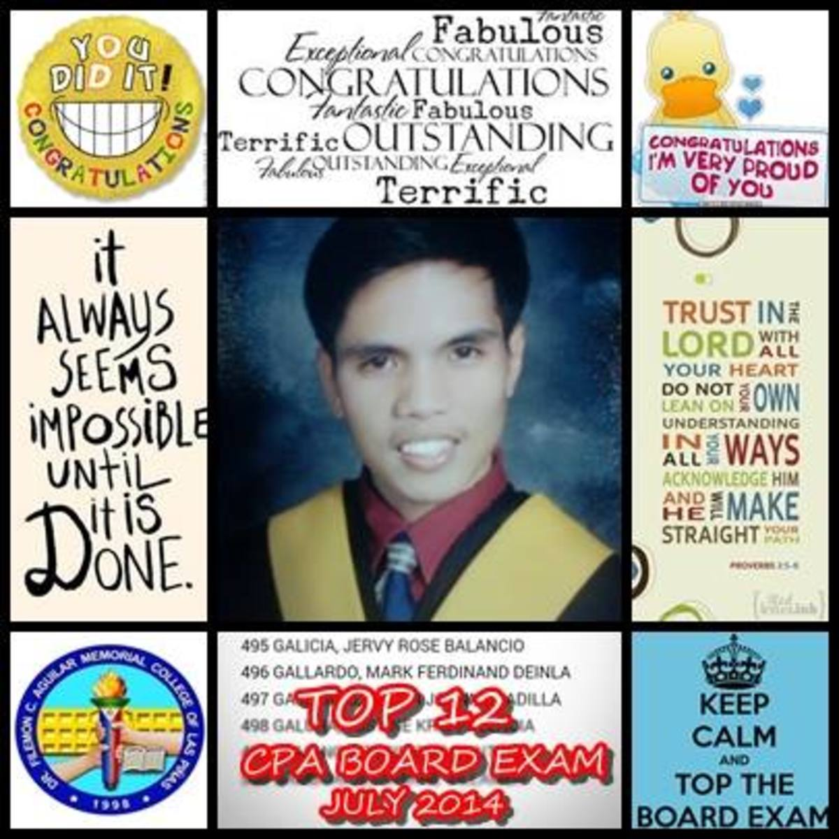 12th Placer in CPA Board Exam, BA Graduate of DFCAMCLP 2013