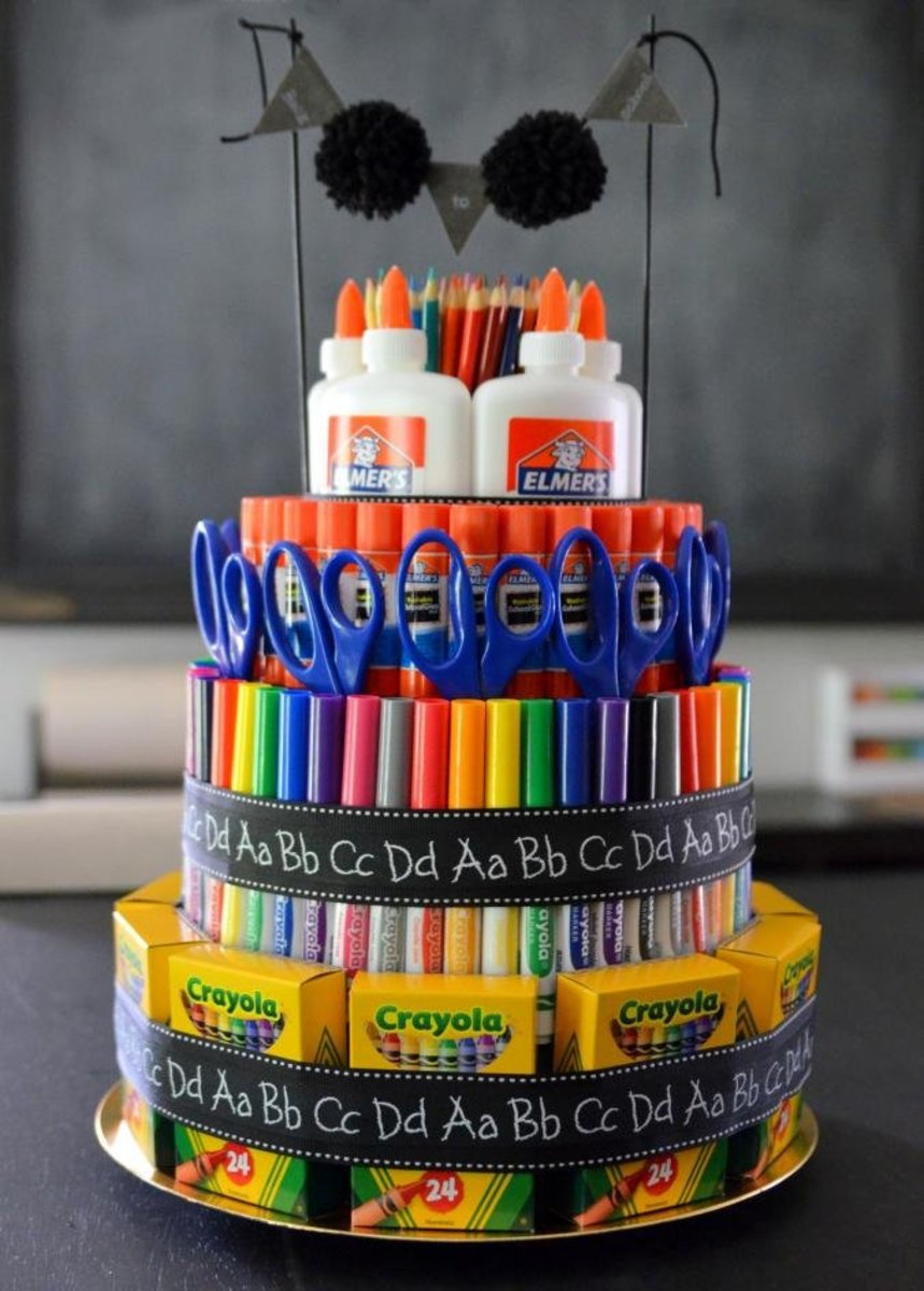 Create a big cake of school supplies and give it to your child's teacher as a gift.