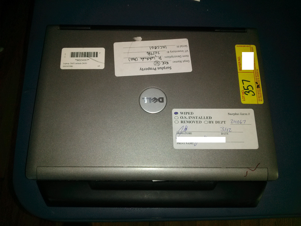 A Dell Latitude D430 that I recently acquired from a Virginia Tech surplus auction.  Apart from a few cosmetic scratches and no power adapter, it did come with the 9 cell battery.  Comparing prices on eBay, this was a steal at $45.