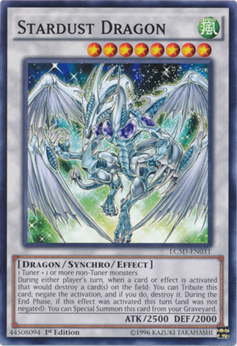 Stardust Dragon Card. As a Synchro Monster, Stardust is a white card.