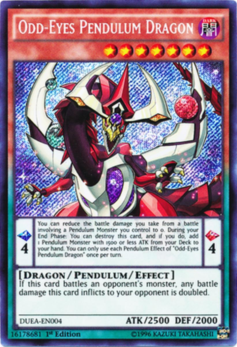 Odd-Eyes Card. Pendulum monsters, like Odd-Eyes, display a multi-colored card.