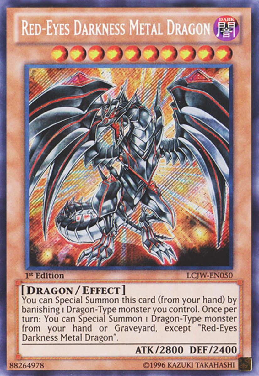 Red Eyes Card. Standard effect monster cards are orange.