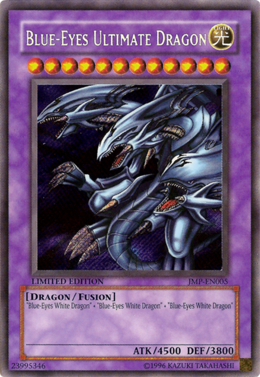 """Blue Eyes Card. It's purple because it's a """"fusion"""" monster."""