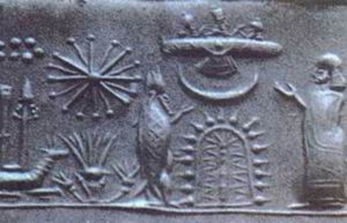 A stone carving that many believe shows a ufo visiting with early man.