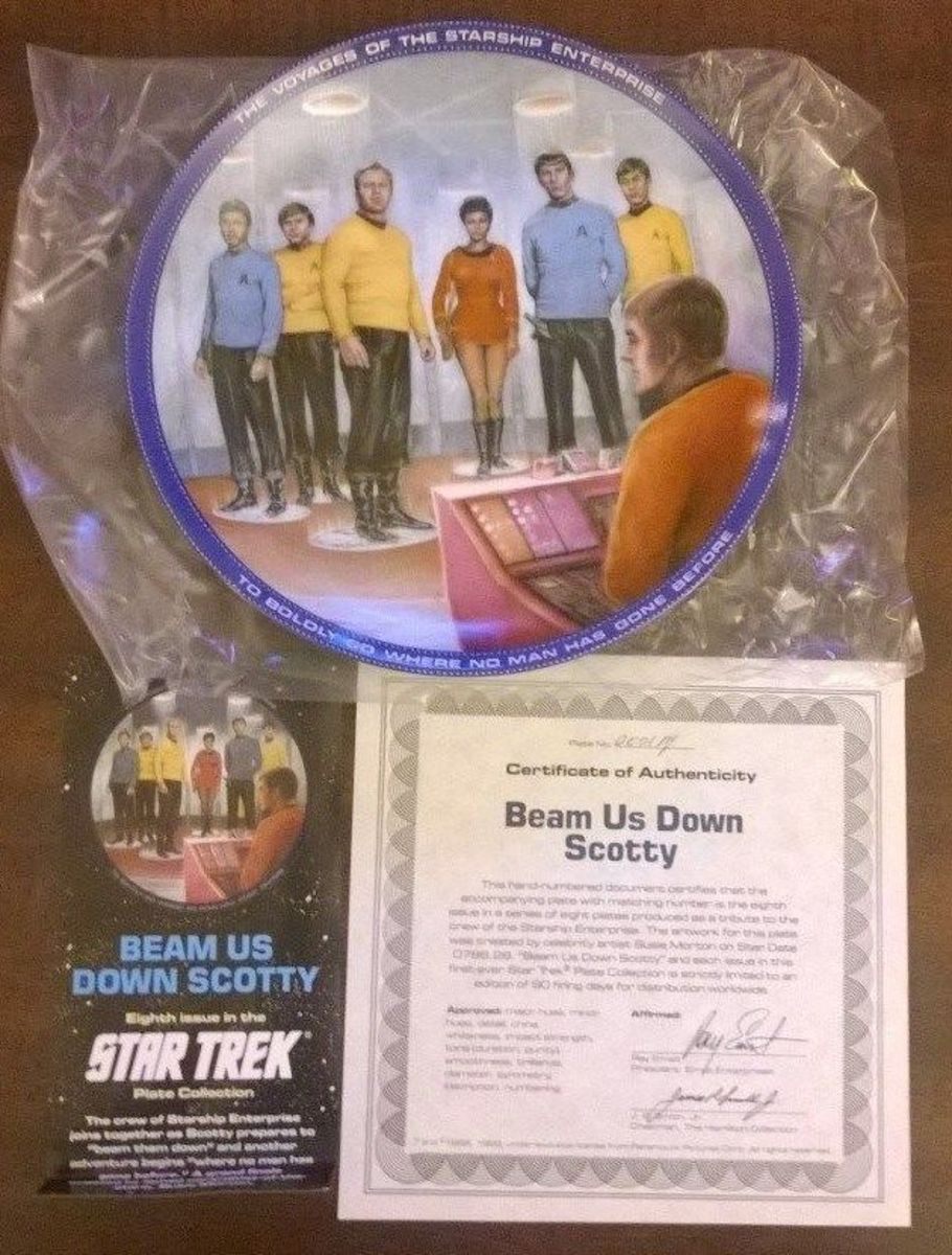 "This is a wonderful collector plate made by Hamilton Collection for Star Trek; this plate is titled ""Beam us down Scotty"" The beautiful artwork was done from Susie Morton a remarkable artist."