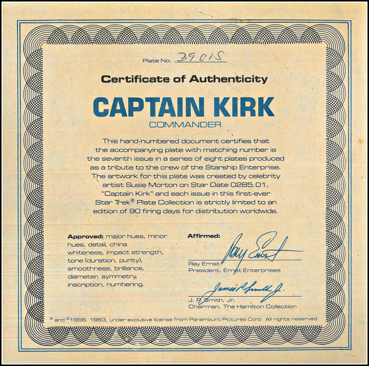 This hand-numbered document certifies that the accompanying plate with matching number is the seventh issue in a series of eight plates produced as a tribute to the crew of the Starship Enterprise.