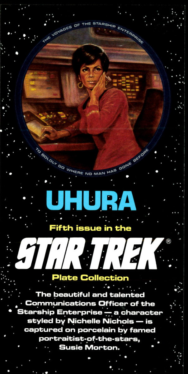 Uhura the character styled by Nichelle Nichols is captured on porcelain by famed portraitist of the stars, Susie Morton.