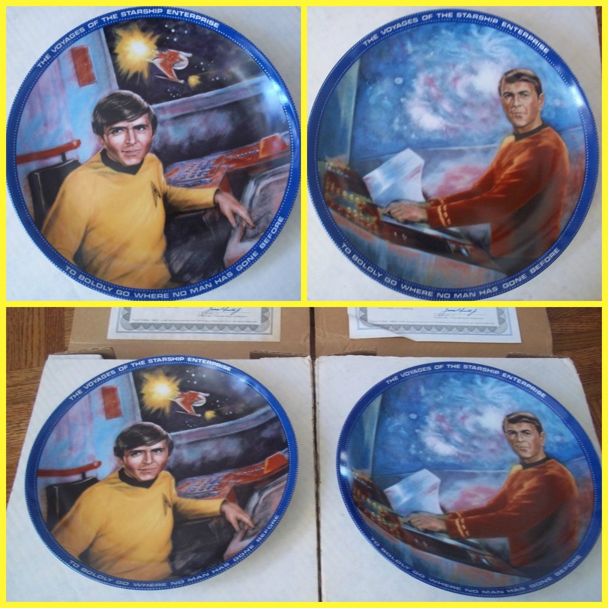 These tow Plates have printing on top of the plate rim THE VOYAGES OF THE STARSHIP ENTERPRISE,  and the bottom part of the rim states: TO BOLDLY GO WHERE NO MAN HAS GONE BEFORE, and they both come with papers of authenticity, and are hand numbered on