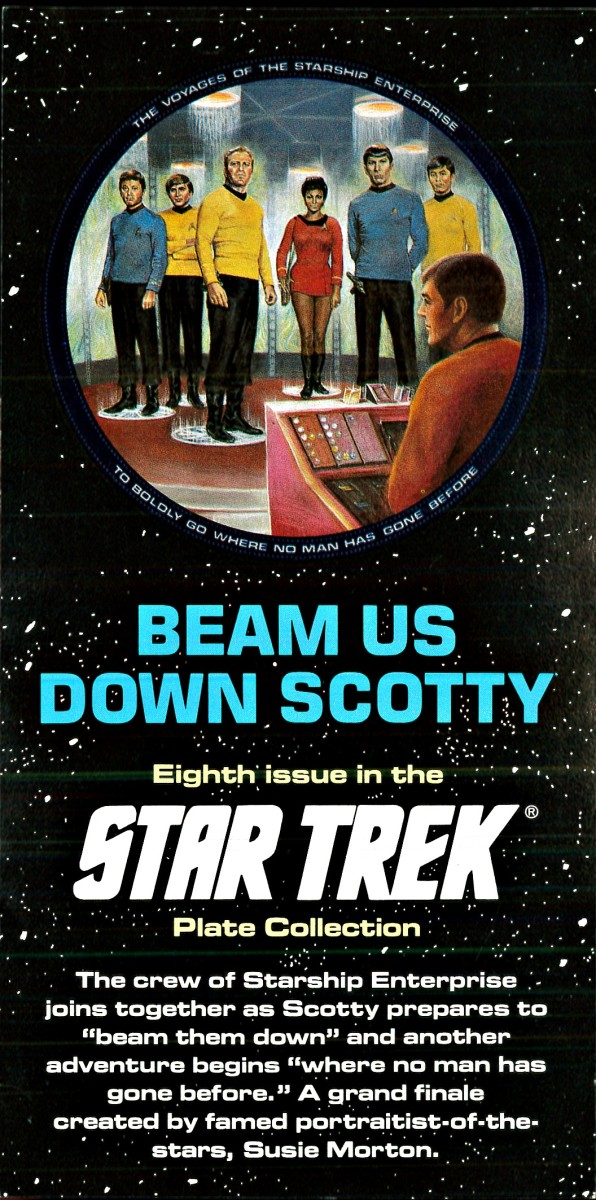 "The crew of Starship Enterprise joins together as Scotty prepares to ""beam the down"" and another adventure begins ""where no man has gone before."" A grand finale created by famed portraitist of the stars, Susie Morton."