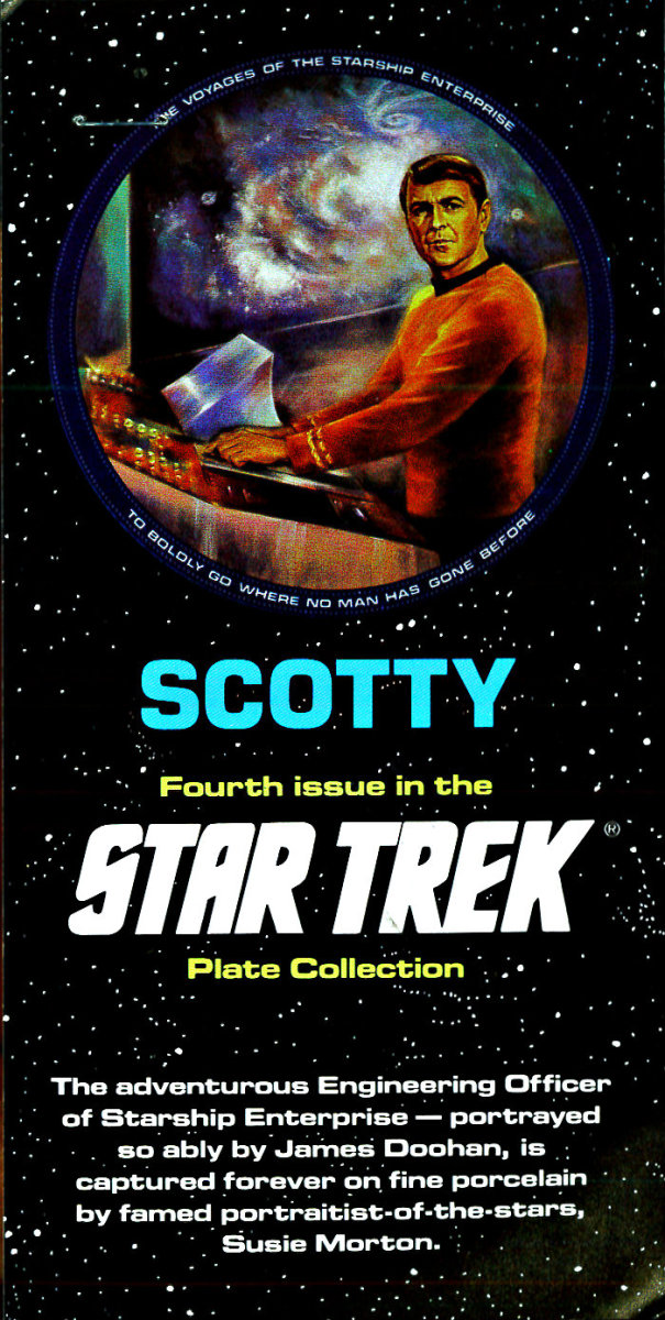 The adventurous Engineering Officer of Star-ship Enterprise - portrayed so ably by James Doohan, is captured forever of fine porcelain by famed portraitist of the stars Susie Morton.