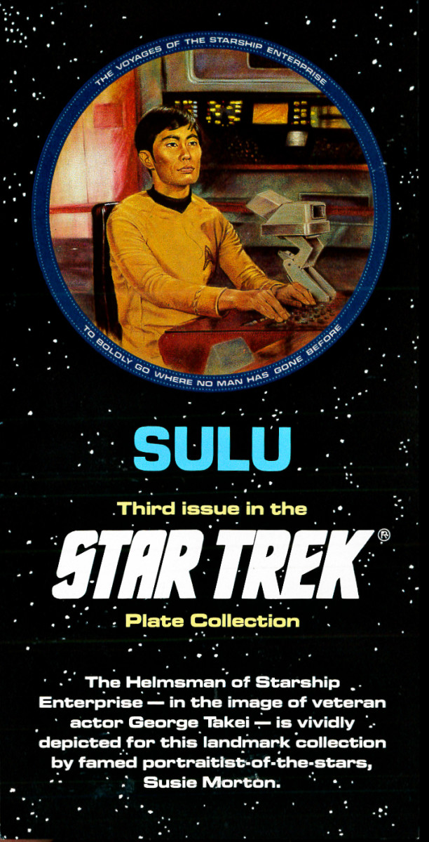 The Helmsman of Starship Enterprise - in the image of veteran Actor George Takie -  is vividly depicted for this landmark collection by famed portraitist of the stars Susie Morton.