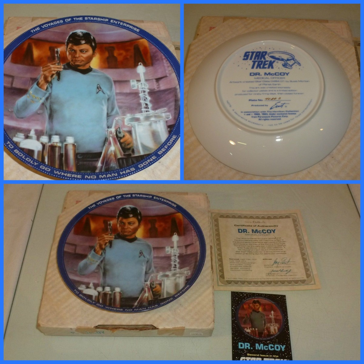 This beautiful plate of Dr. McCoy is in excellent condition with no chips, cracks or glazing and it includes the original COA and its original box.