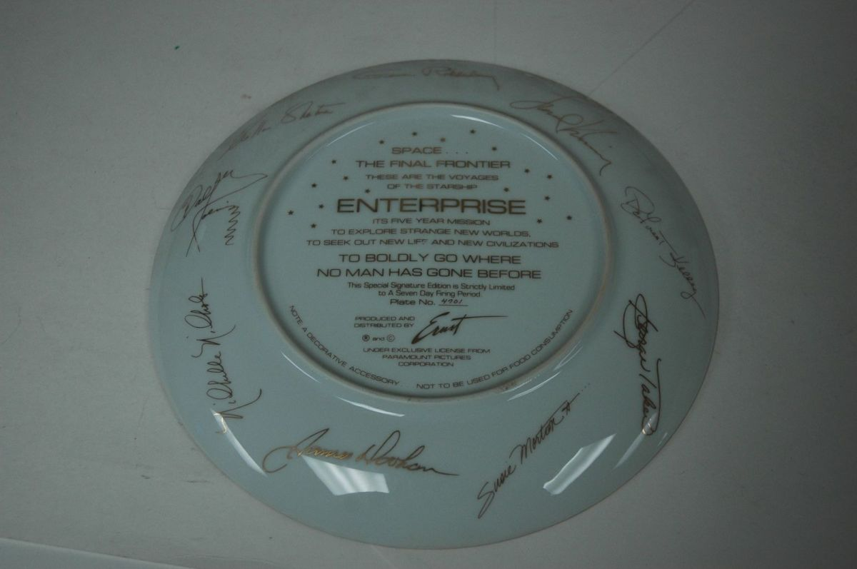 "The plate has the Star Trek USS Enterprise NCC1701 on it and some of the well known the crew of the ship. The plate is 10 1/4"" inches and is the Special Signature Edition, made by Ernst for the Paramount Pictures Corporation, and this Special Signatu"