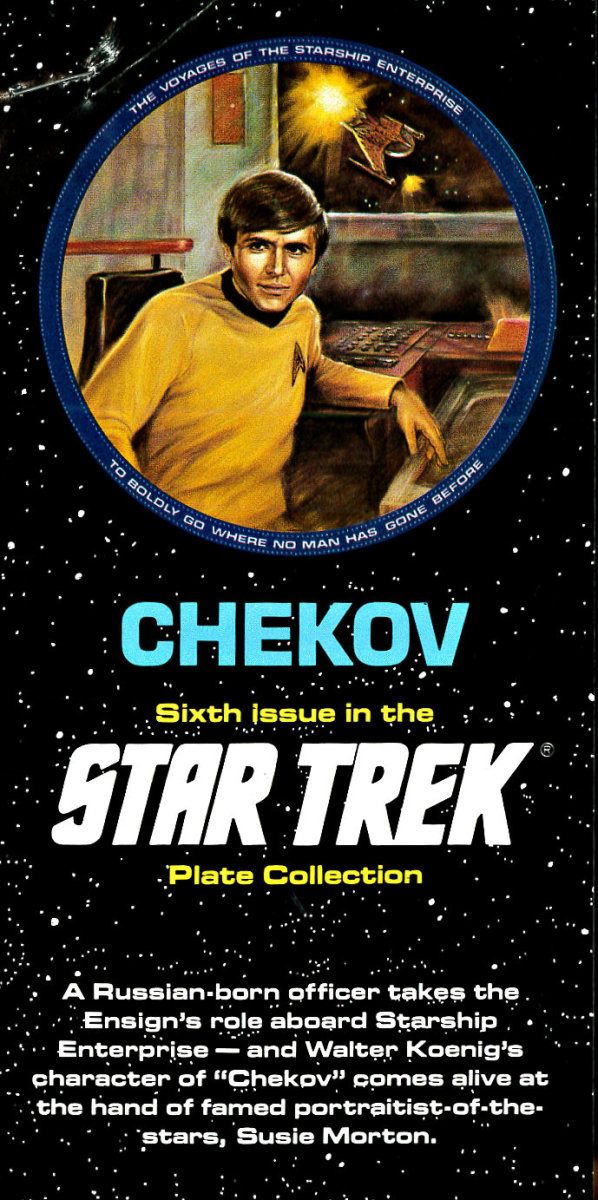 "A Russian-born officer takes the Ensign's role aboard Star-ship Enterprise - and Walter Koenig's character of ""Checkov"" comes alive at the hand of famed portraitist of the stars, Susie Morton."