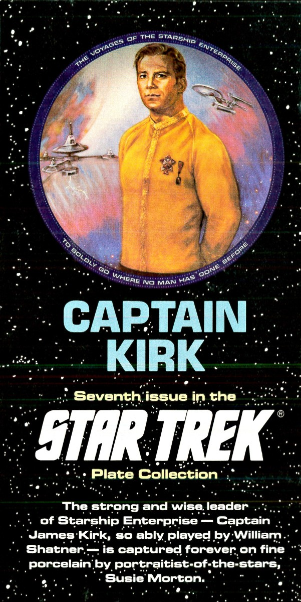 The strong and wise leader of Starship Enterprise - Captain James Kirk, so ably played by William Shatner - is captured forever on fine porcelain by portraitist of the stars Susie Morton.