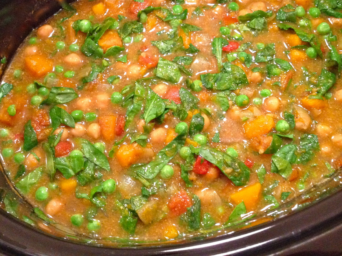 Stir in spinach and peas during the last 30 minutes of cooking.