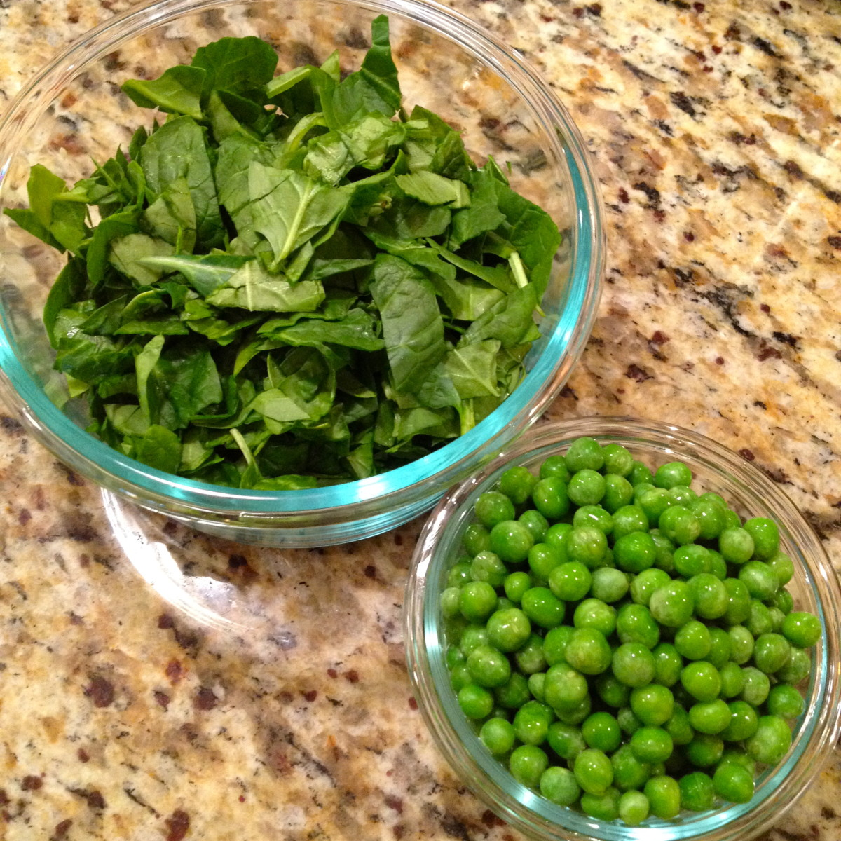 While the recipe cooks in the slow cooker, prepare spinach and peas.
