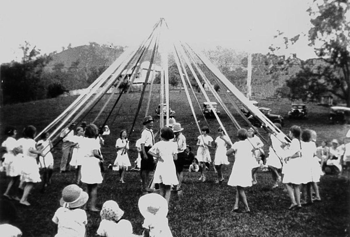 Maypole dancing at Canungra Showgrounds, circa 1934.