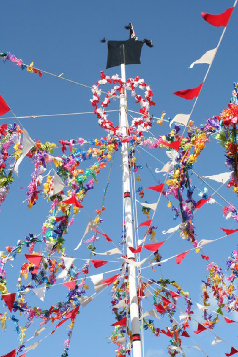 Maypole in Padstow, Cornwall UK. An interesting story of it is presented farther below.