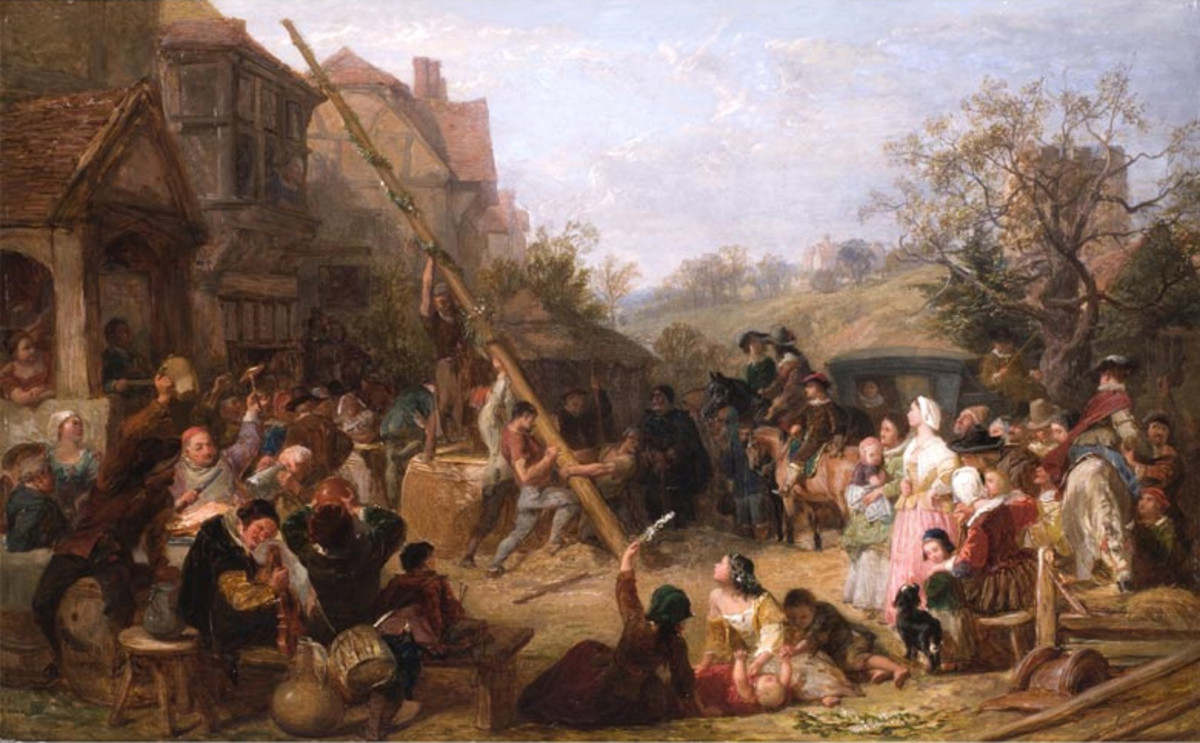 "England: Frederick Goodall's ""Raising the Maypole."" Painting completed December 31, 1854."