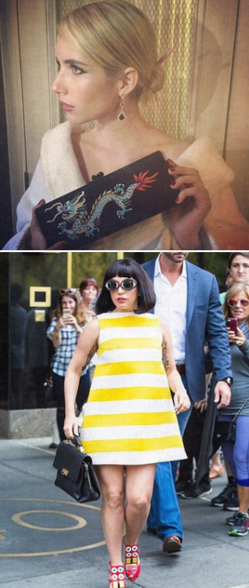 Emma Roberts put chopsticks in her hair bun and a carried a dragon on her clutch. Meanwhile, Lady Gaga walked the streets in her sushi shoes before the event.