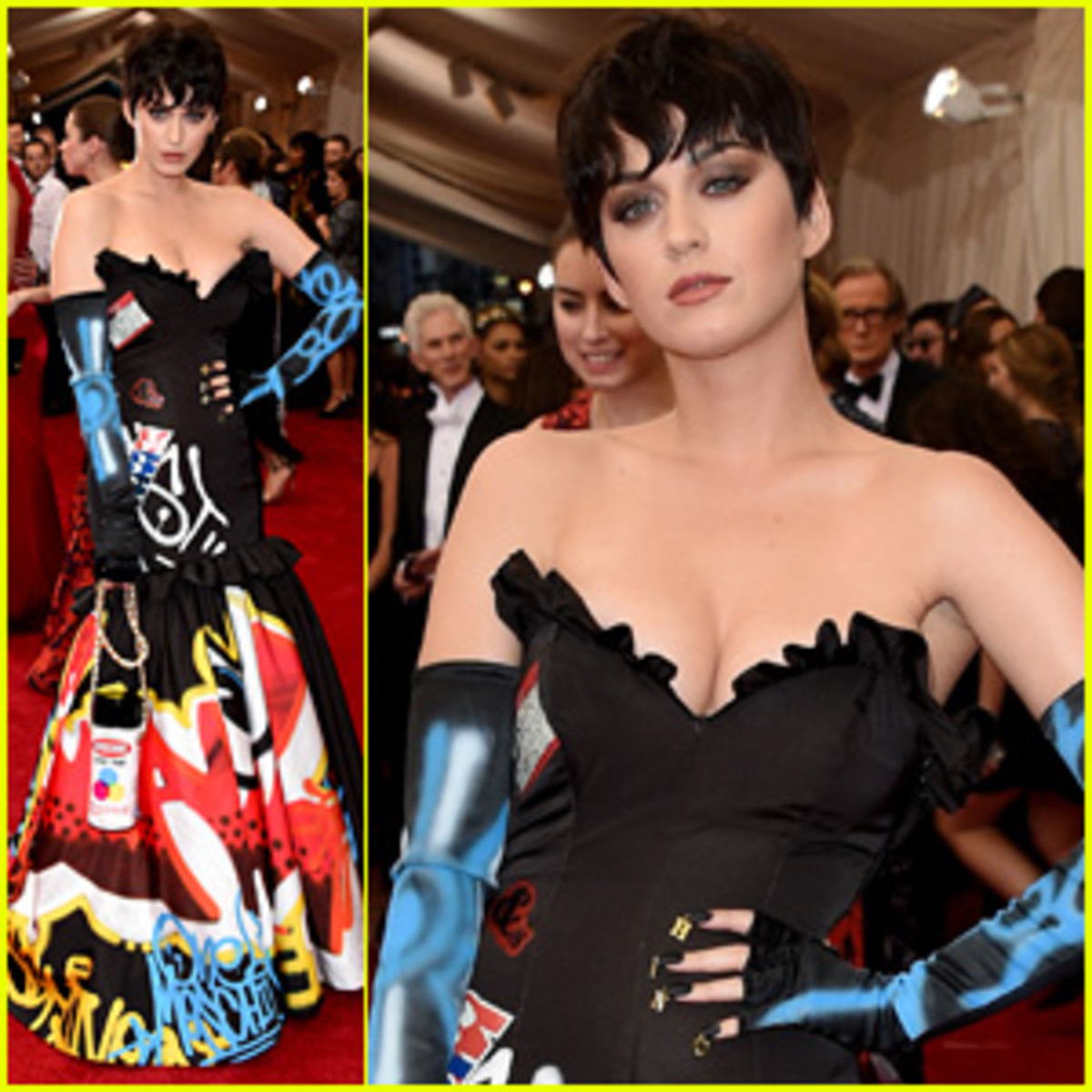 She wore a graffiti gown with a spray can purse by Moschino to the Met Gala 2015